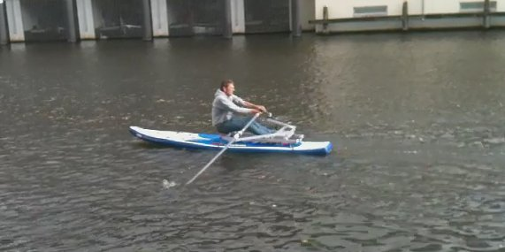 Rowing with the RowSurfer on the inflatable Mistral M1 Race SUP