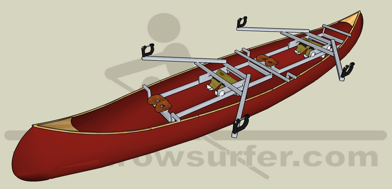Two RowSurfers mounted in one canoe: a double scull