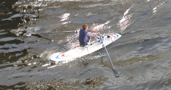Rowing on a Mistral Competition Superlight with the RowSurfer