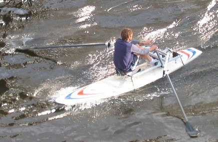 Rowing on a Mistral Competition Superlight with the drop-on RowSurfer